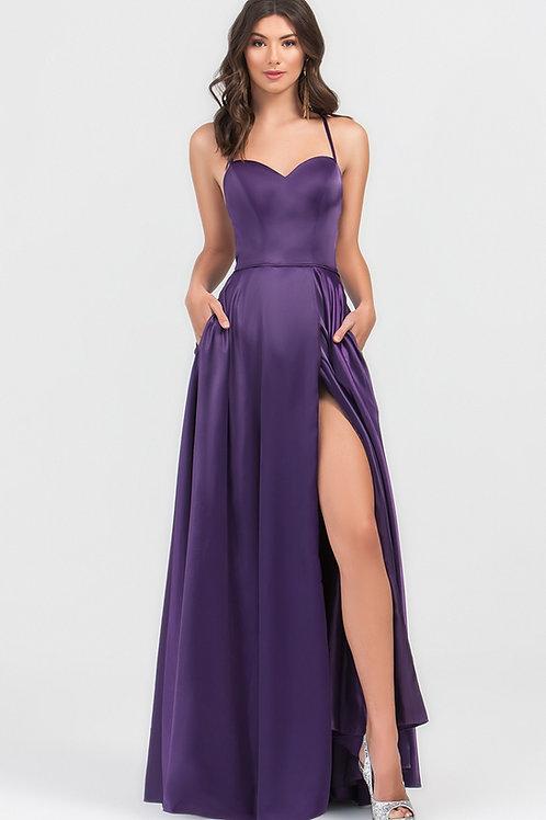 Purple Satin Long Dress Size 10