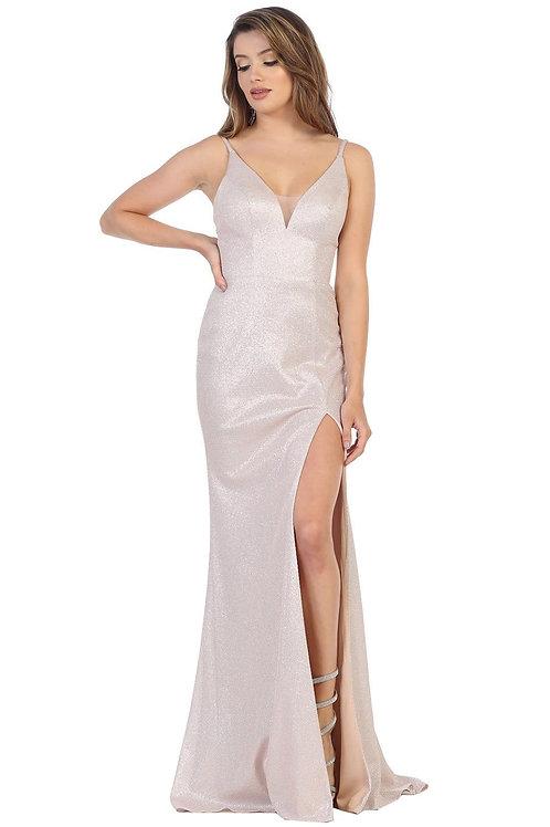 Blush Metallic Long Dress Size 2, 8
