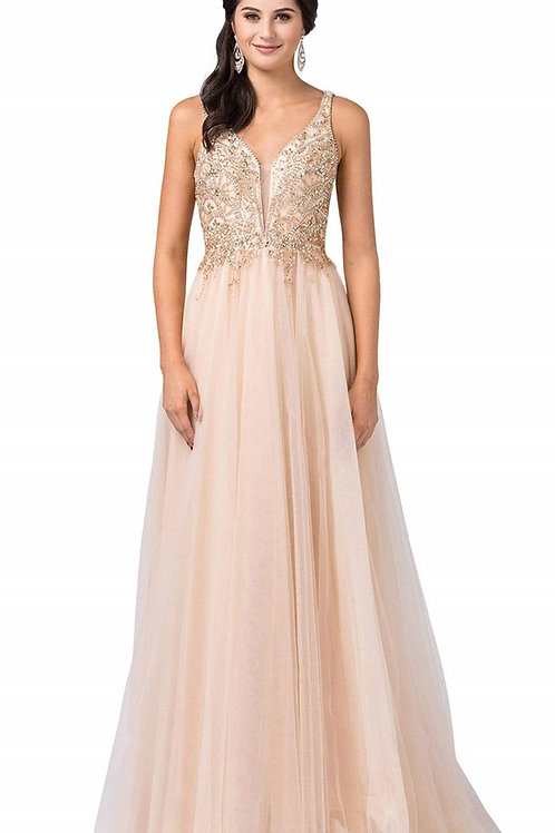 Champagne Jeweled Bridal Gown Size 2XL