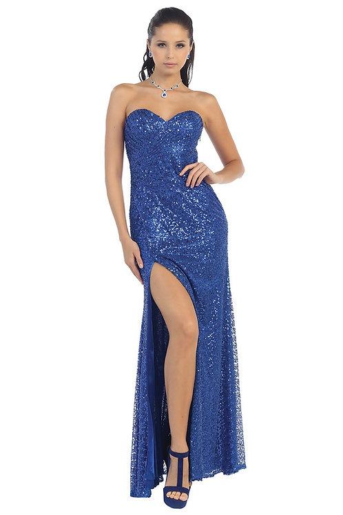 Royal Blue Sequin Long Dress Size 6