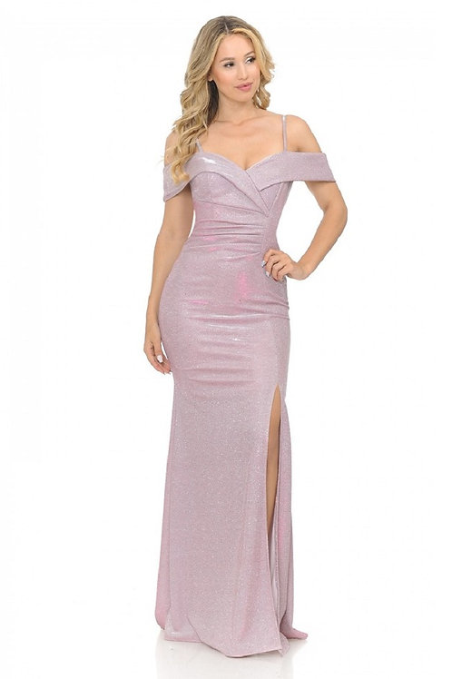 Pink Metallic Off Shoulder Long Dress Size XS