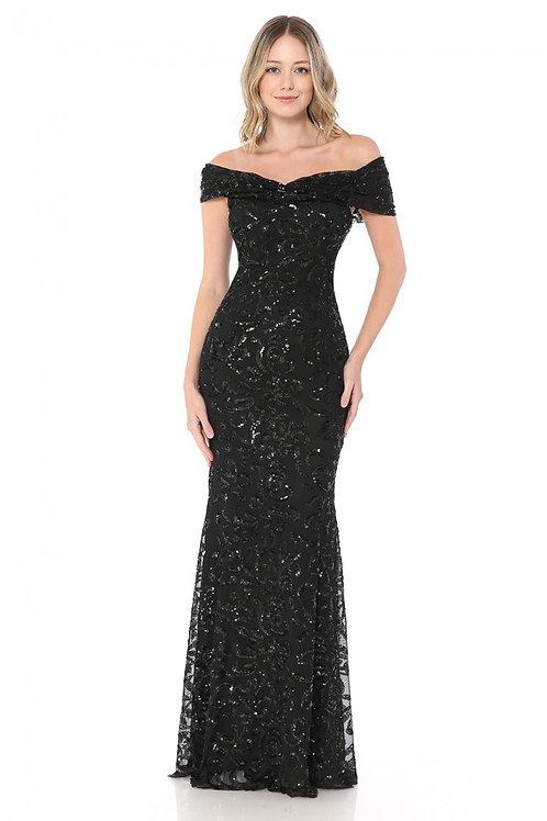 Black Sequin Off-Shoulder Fit & Flare Long Formal Dress Size XL