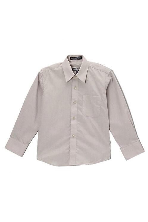 Boys Light Gray Button Up Dress Shirt Size 8, 20