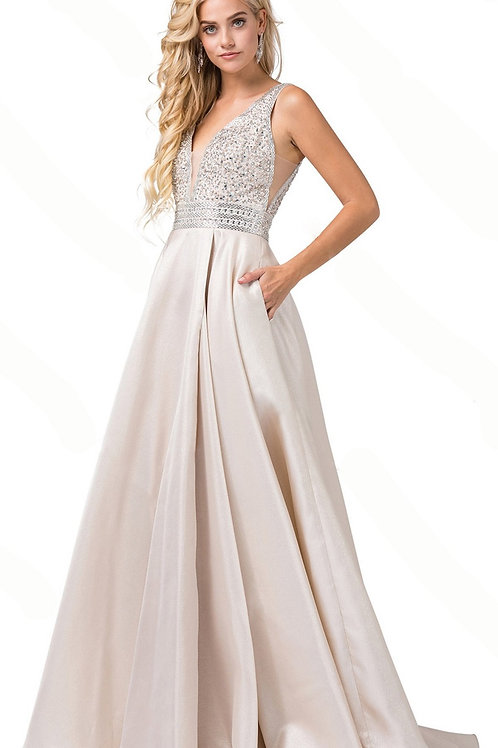 Champagne A-Line Gown With Beaded Bodice Size M