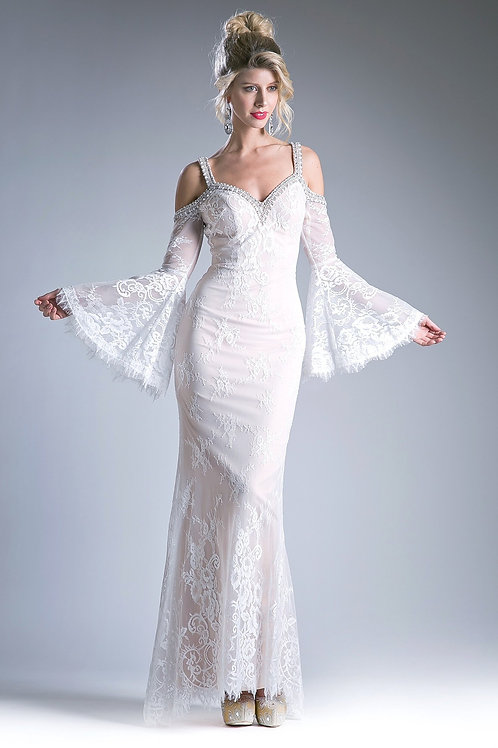 Ivory/Champagne Long Sleeve Bridal Gown Size 10