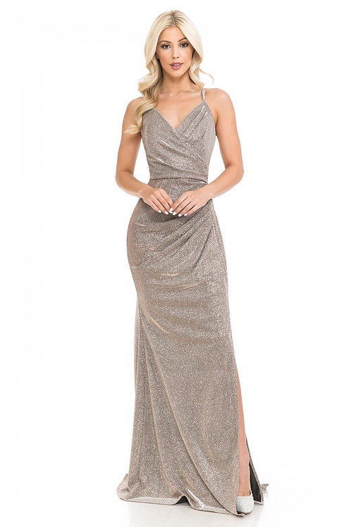 Taupe Metallic Wrap Style Long Formal Dress Size L