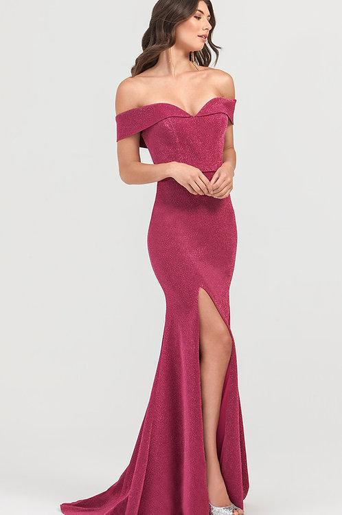 Wine Glitter Off Shoulder Fit & Flare Long Dress Size 2