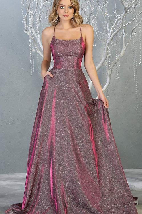 Fuchsia Glitter Long Dress Size 4