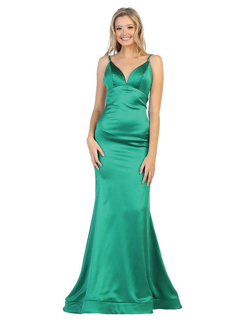 Emerald Satin Long Dress Size 2