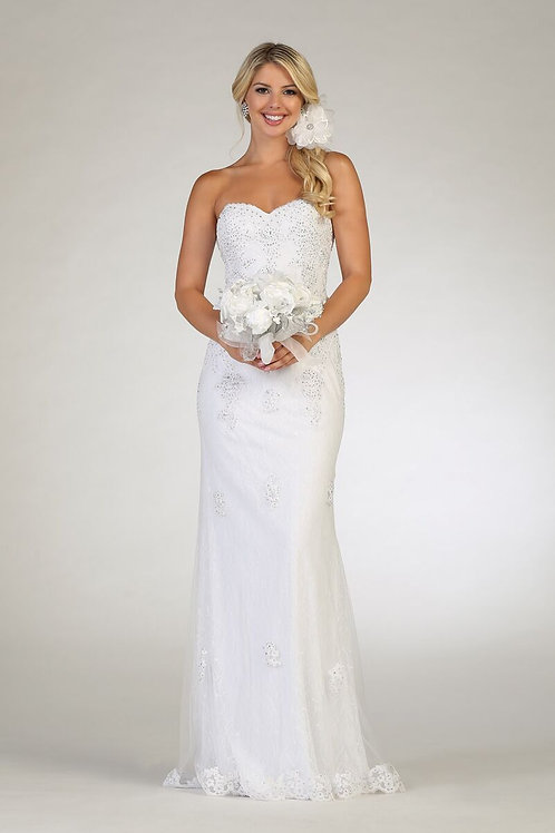 Off White Strapless Bridal Gown Size 16