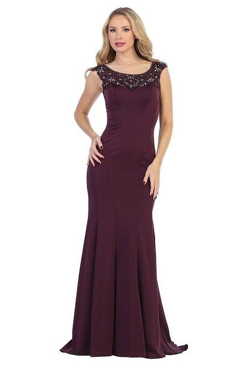 Eggplant Fit & Flare Long Dress Size L