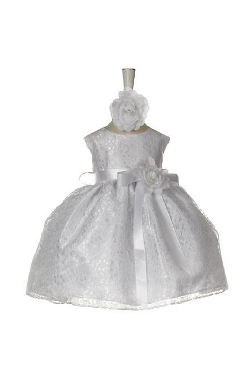 Baby Girls White Lace Short Dress Size 0-6 Months