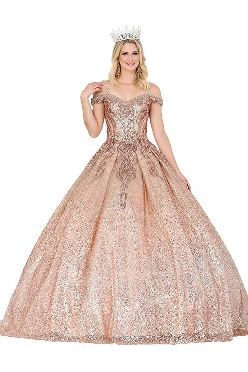 Rose Gold Glitter Ball Gown Size S