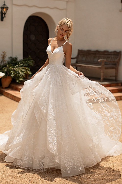 Ivory Floral Sparkle Bridal Ball Gown Size 10