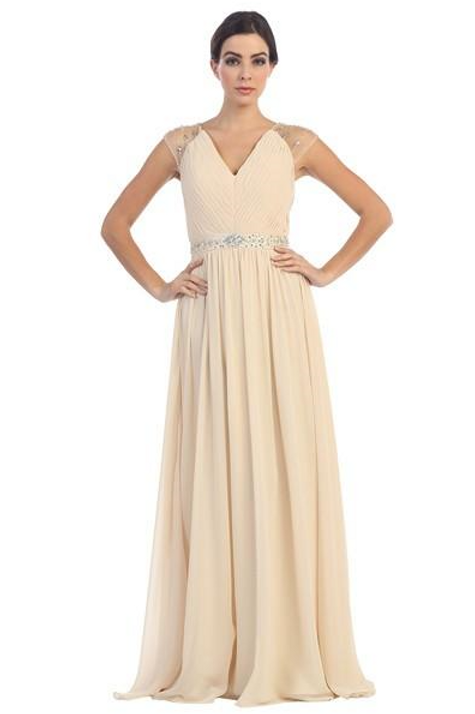 Champagne Pleated Long Dress Size M