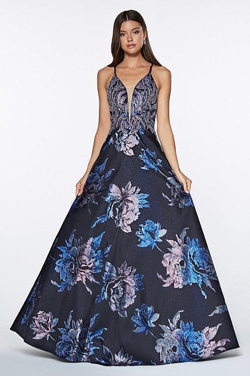 Navy Floral Long Dress Size 2X