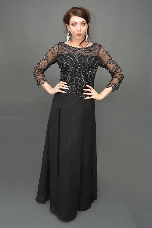 Black Beaded Long Dress Size XL