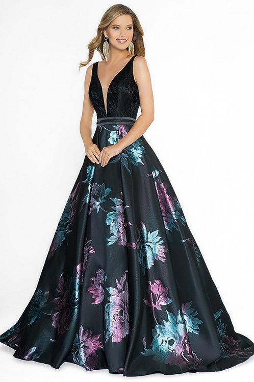 Black & Purple Floral Long Dress Size 8