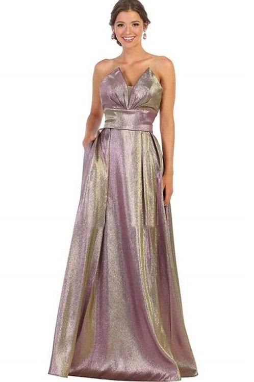Mauve Gold Metallic Long Dress Size 12