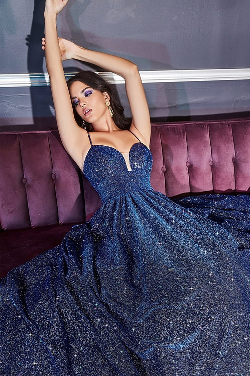 Royal Blue Glitter A-Line Ball Gown Size 4