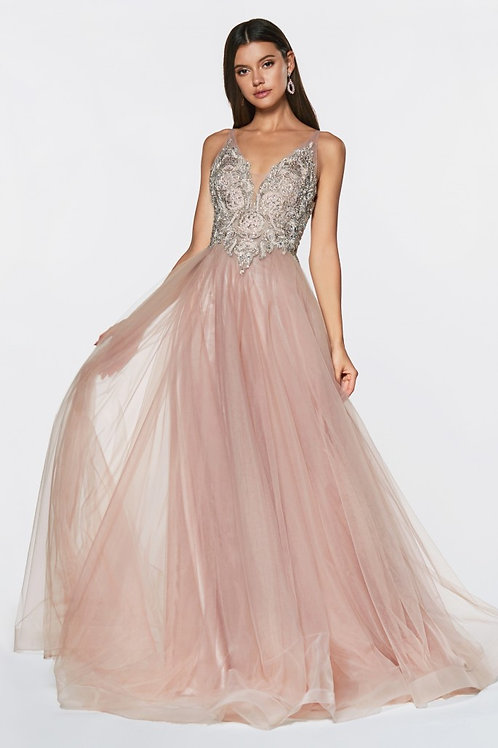 Champagne A-Line Gown Size 4,6,16