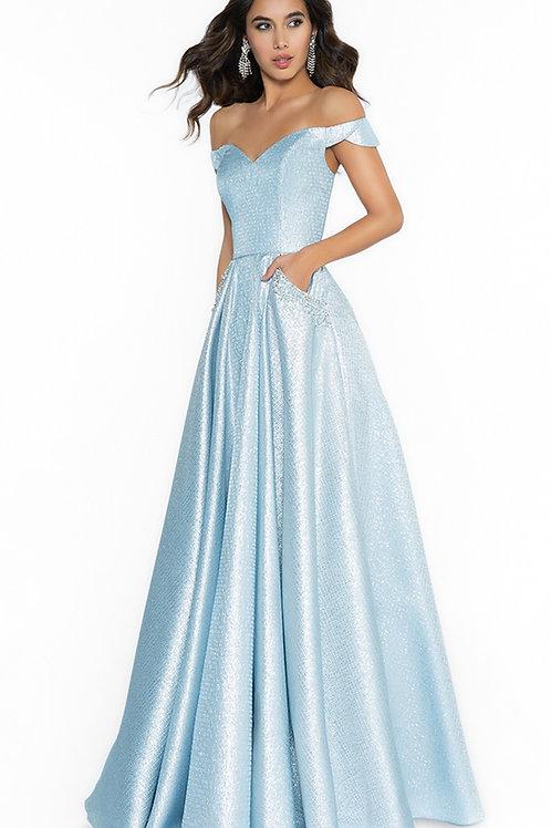 Blue Glitter Off Shoulder Long Dress Size 14