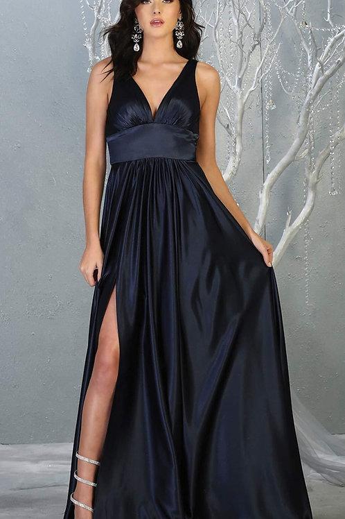 Navy Satin Long Dress Size 10, 14