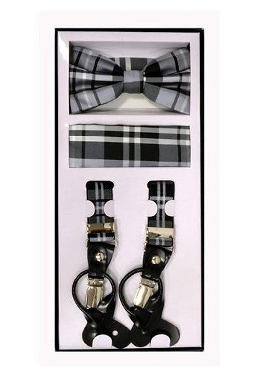 Gray Plaid Suspender Set