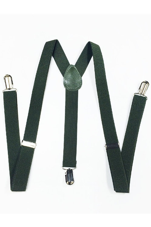 Olive Green Clip On Suspenders