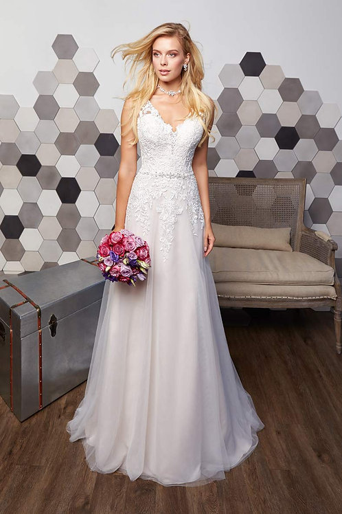 Ivory Lace A-Line Bridal Gown Size 12