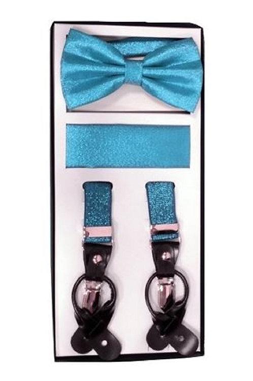 Turquoise Metallic Suspender Set