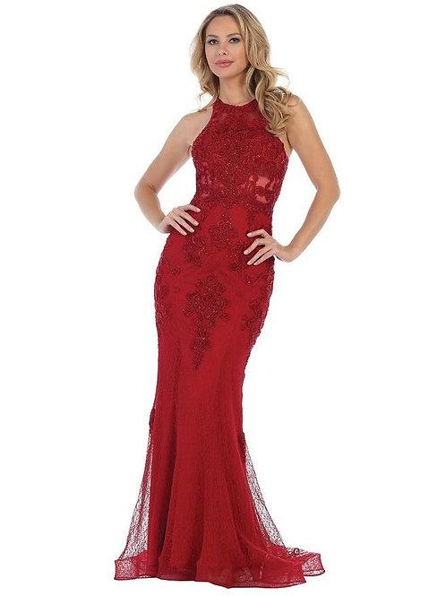 Burgundy Lace Fit & Flare Long Formal Dress Size L