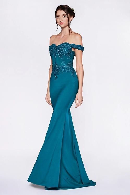 Teal Off Shoulder Long Dress Size L