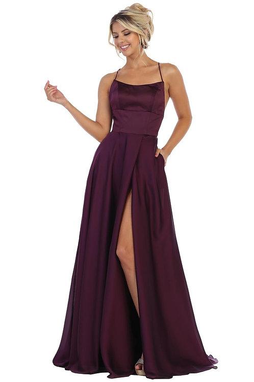 Eggplant Satin Long Dress Size 12