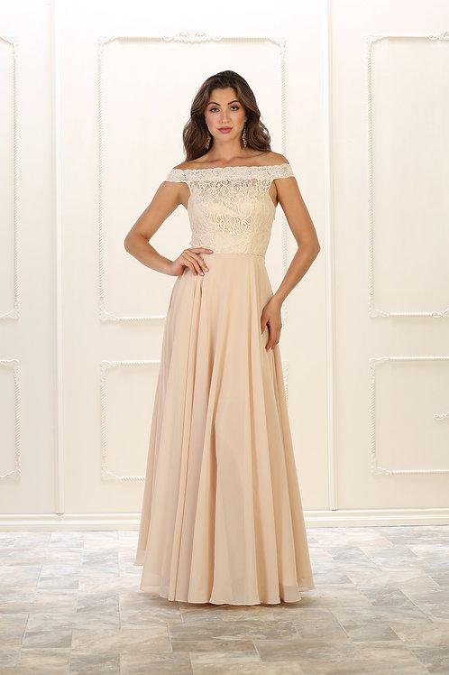 Champagne Lace Top Long Dress Size 14