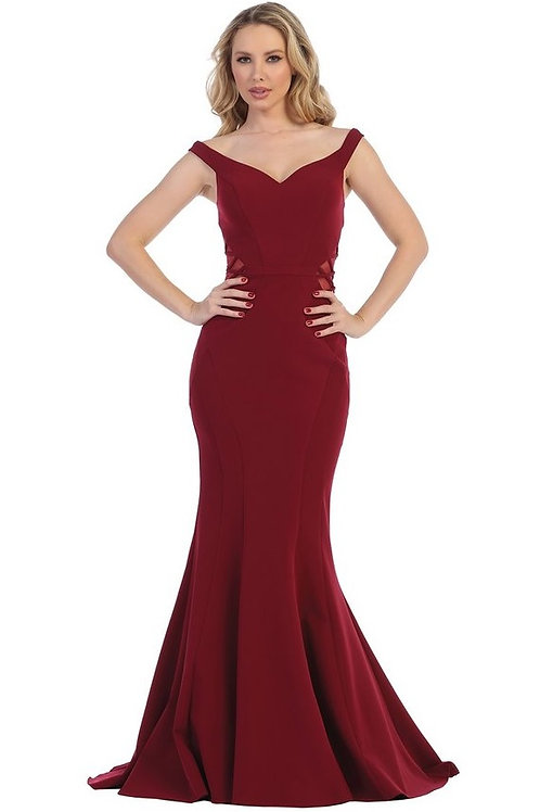Burgundy Illusion Sides Long Dress Size S, M