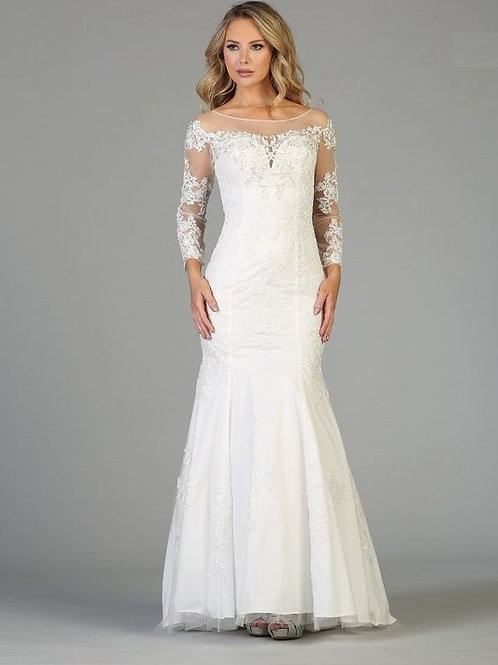 Off White Long Sleeve Fit & Flare Bridal Gown Size L
