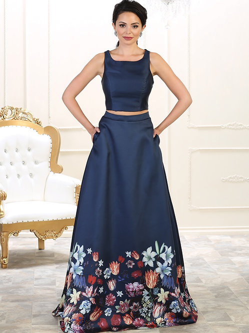 Navy Floral Two Piece Dress Size 8