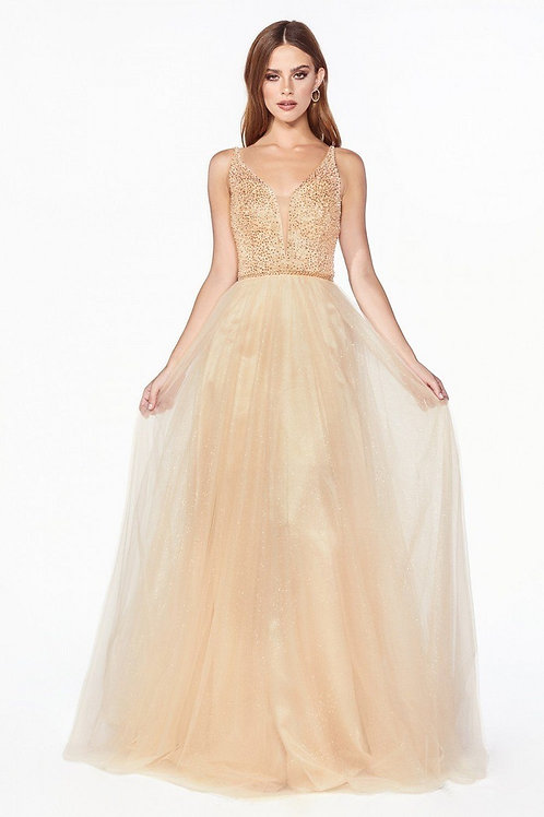 Champagne Beaded Glitter A-Line Size XS