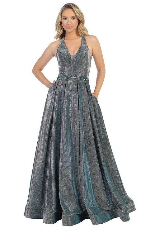 Teal Metallic Belted Long Dress Size XL