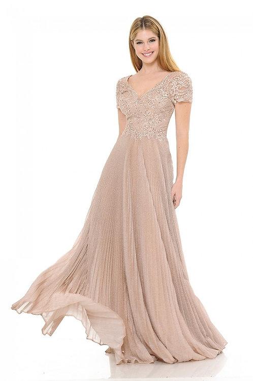 Blush Embroidered Short Sleeve Long Formal Dress