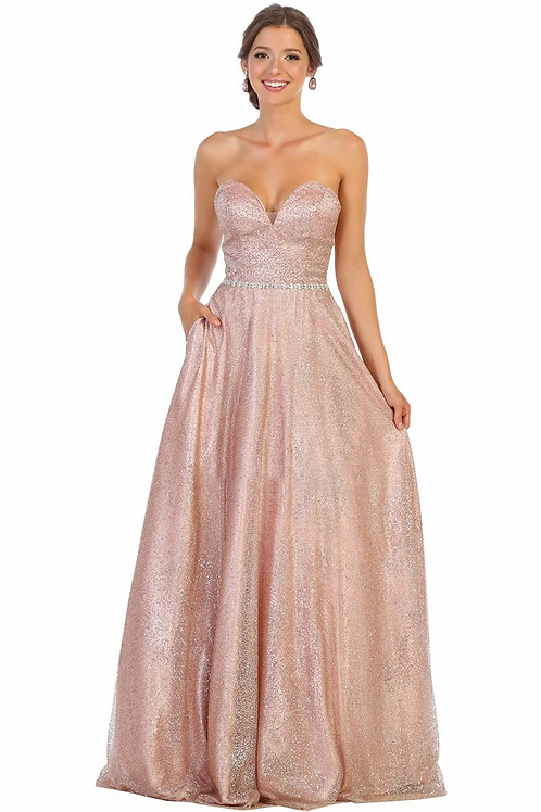 Rose Gold Glitter Ball Gown Size 8