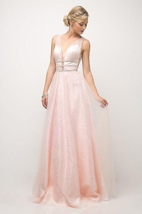 Powder Pink Glitter Long Dress Size 2