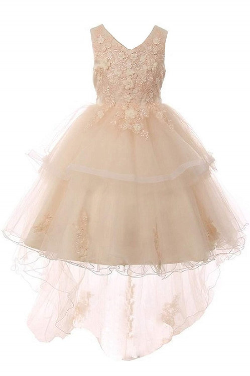 Girls Champagne Lace Applique High Low Dress Size 8