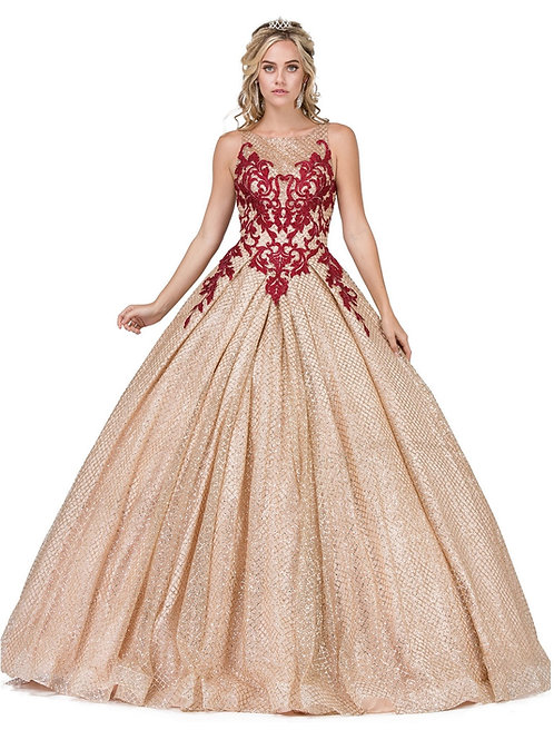 Gold Glitter & Burgundy Ball Gown Size S