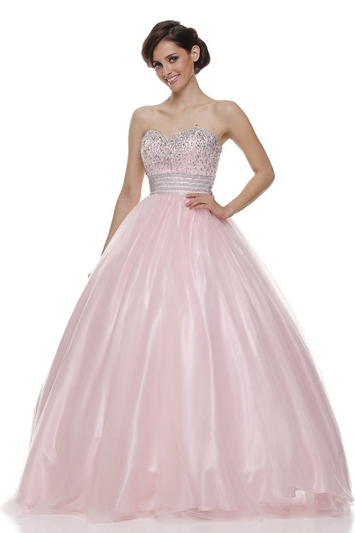 Light Pink Strapless Jeweled Ball Gown Size XL