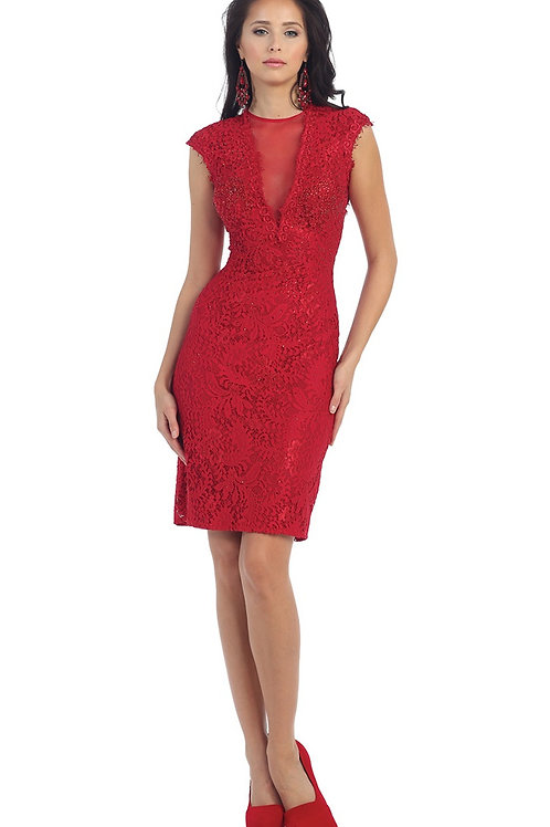 Red Lace Short Dress Size 4