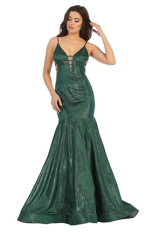 Emerald Metallic Fit & Flare Formal Long Dress Size 2
