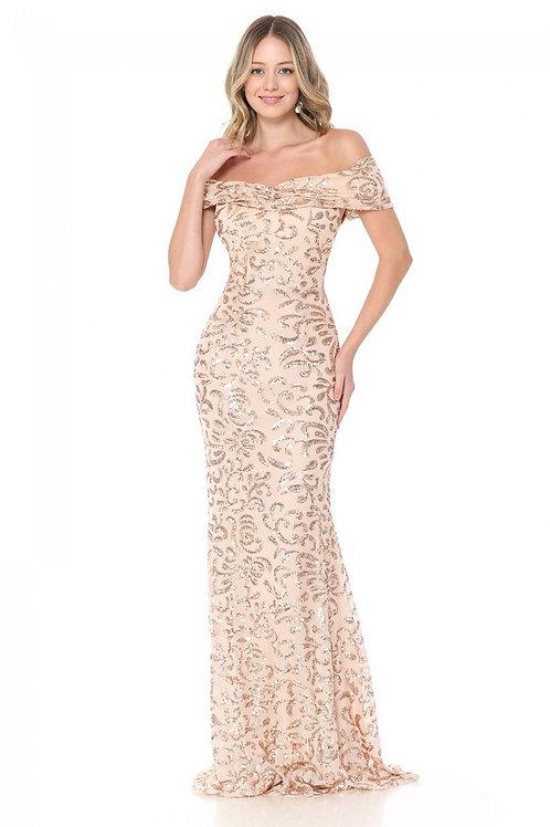 Nude & Gold Sequin Off-Shoulder Fit & Flare Long Formal Dress
