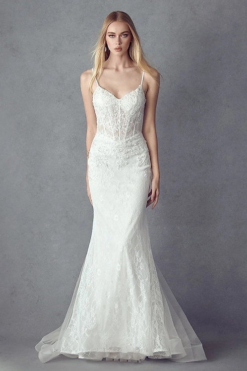 Off White Lace Mermaid Bridal Gown Size M